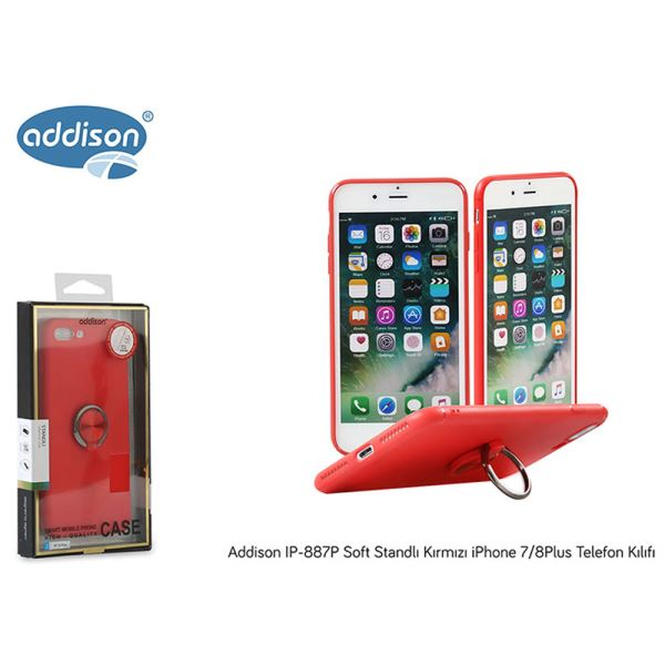 ADDİSON IP-887P SOFT STANDLI KIRMIZI İPHONE 7/8PLUS TELEFON KILIGI