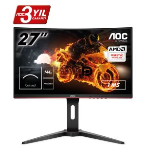 "AOC C27G1 27"" 144 Hz 1ms HDMI DPort FreeSync Full HD Curved Gaming Monitör"