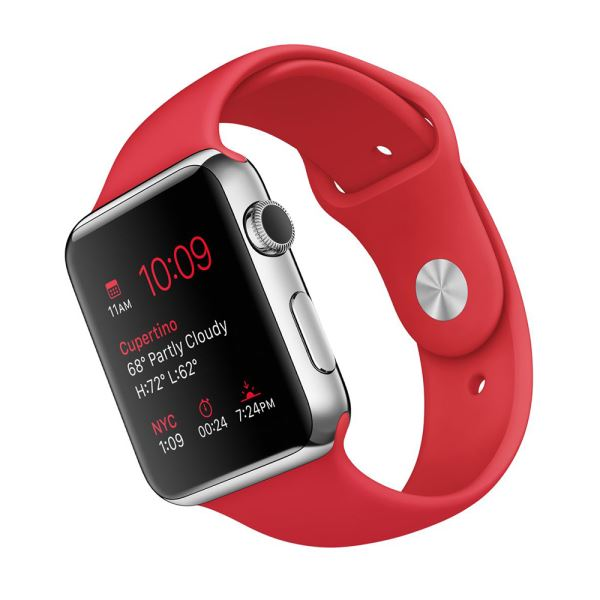 Apple Watch 42 mm Paslanmaz Çelik Kasa ve (PRODUCT) RED Spor Kordon