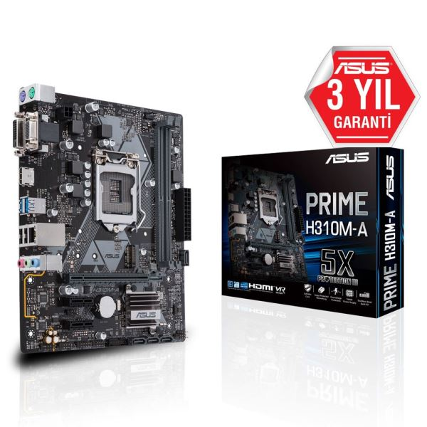 ASUS PRIME H310M-A Intel H310 Socket 8.Nesil 1151 DDR4 2666MHz USB3.1 Anakart