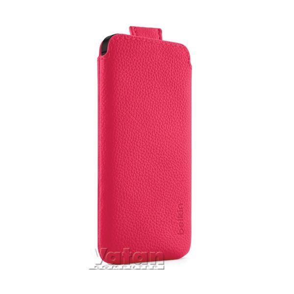 IPHONE 5,  POCKET CASE POLİÜRETAN PEMBE KILIF