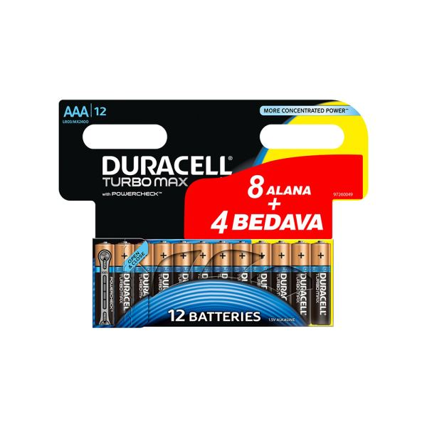 Duracell Turbo Max 8+4 İnce Kalem Pil AAA