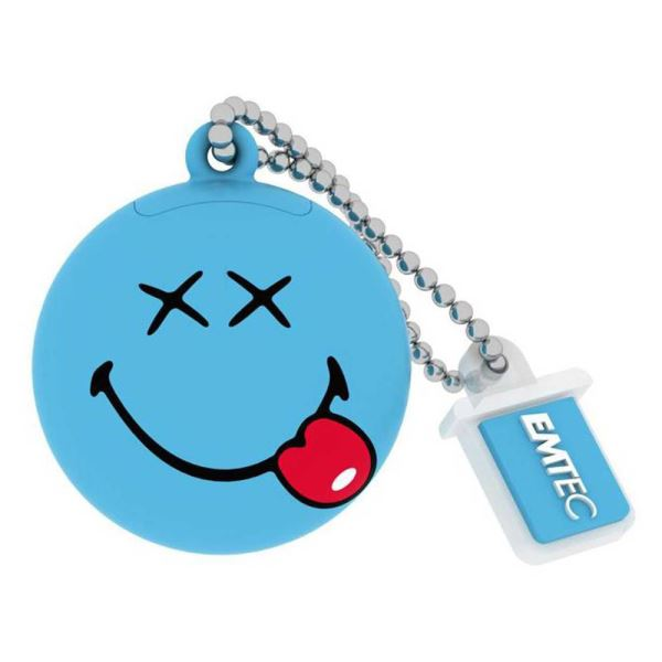 EMTEC8GB Smiley World Blue USB 2.0 Bellek