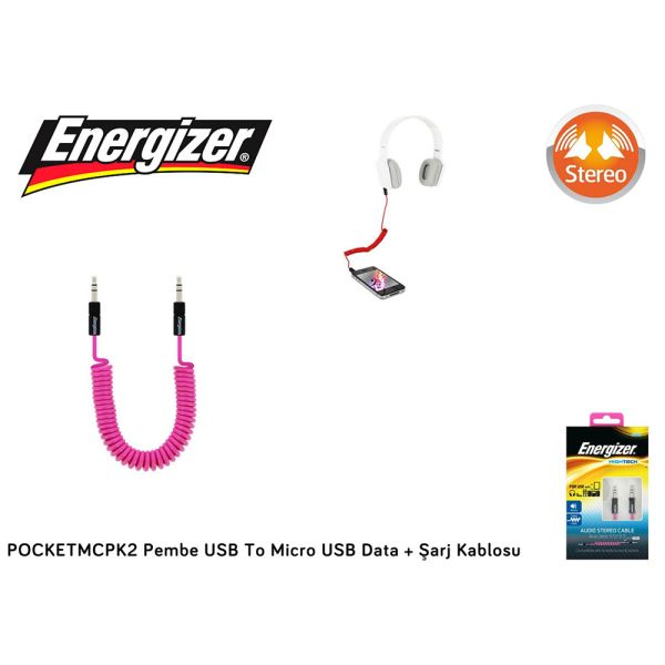 POCKETMCPK2 Pembe USB To Micro USB Data + Şarj Kablosu