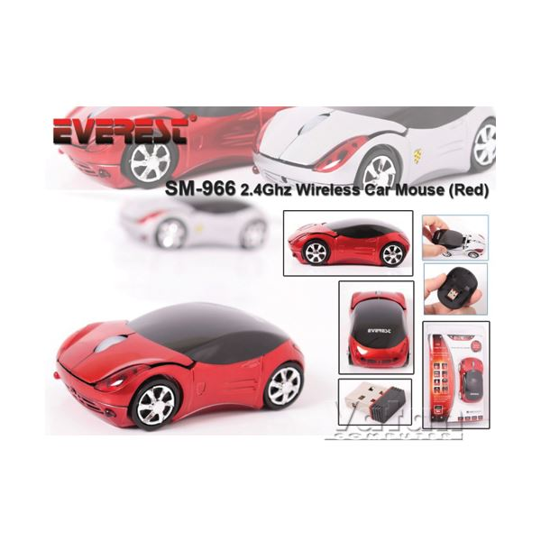 EVEREST SM-966 RED WIRELESS CAR MOUSE