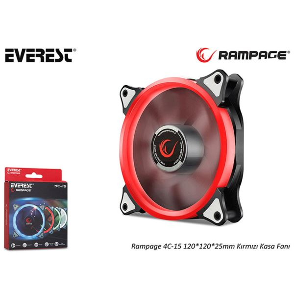 EVEREST RAMPAGE 4C-15 120MM KIRMIZI LED FAN
