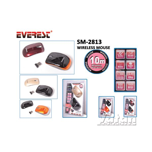 EVEREST SM-2813 WIRELESS NOTEBOOK MOUSE DEĞİŞİR KAPAK