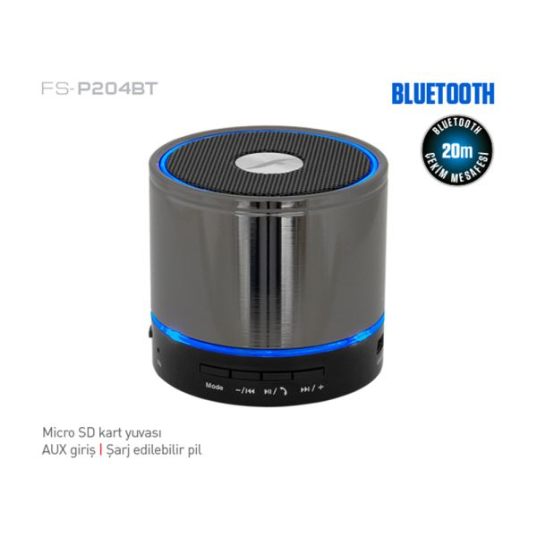 FRISBY FS-P204BT MINI BLUETOOTH SPEAKER - METALİK GRİ