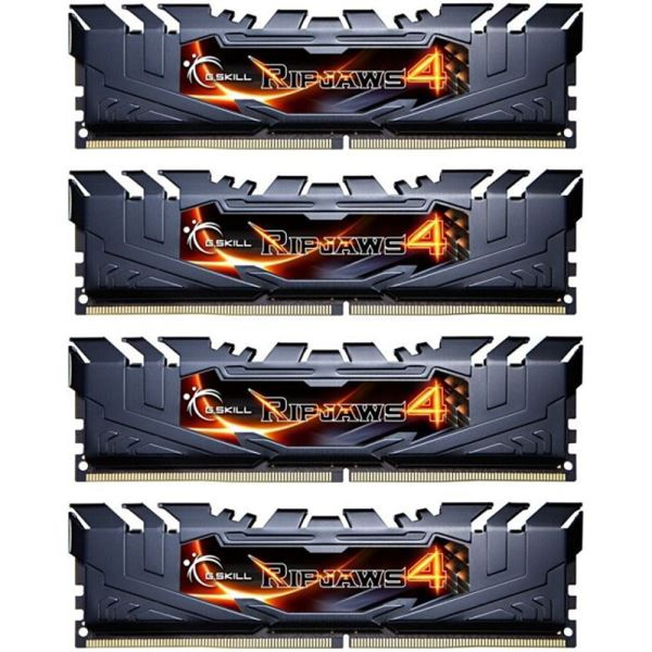 GSKILL 16GB (4x4GB) Ripjaws4 Siyah DDR4 2400MHz CL15 1.2V Ouad Kit Ram