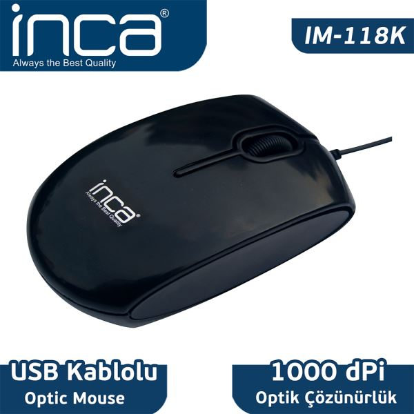INCA IM-118K KABLOLU OPTİK MOUSE