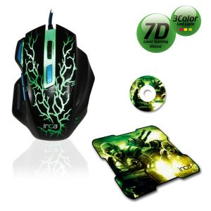 INCA IMG-365MS 7D +3200 DPI +7 COLOR SİYAH MAKROLU GAMİNG MOUSE + MOUSEPAD