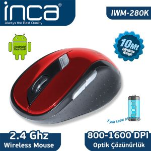 INCA IWM-280S KIRMIZI WIRELESS MOUSE (KIRMIZI&SİYAH)