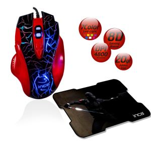 INCA IMG-319 8D +4800 DPI+7 COLOR LED  MAKROLU GAMING MOUSE + MOUSEPAD