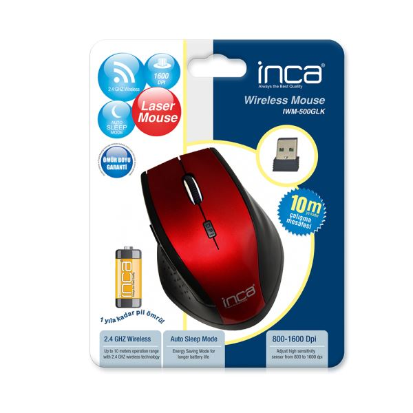 INCA IWM-500GLK WIRELESS LASER MOUSE - KIRMIZI