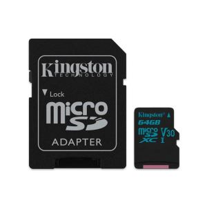 KINGSTON CANVAS GO 64 GB ADAPTÖRLÜ HAFIZA KARTI(90MB/S-45MB/S)