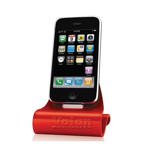 KN-8272 iCrado PLUS IPHONE 4/4S DOCK STATION- (KIRMIZI)