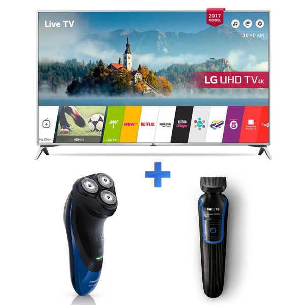 LG 49UJ651 TV + PHILIPS AT770/20 TIRAŞ MAK.+ QG3330/15 SAÇ SAKAL KESME MAKİNESİ