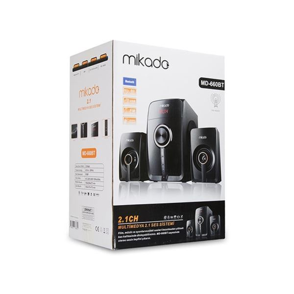 MIKADO MD-660BT 2+1 Siyah Fm Destekli Multimedia Bluetooth Speaker