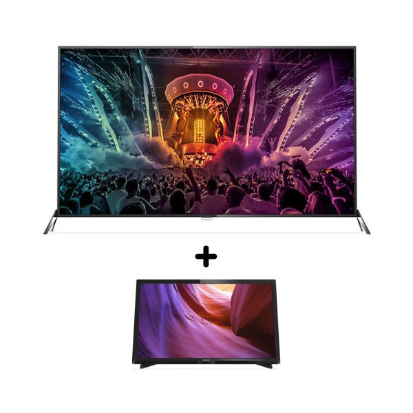 PHILIPS 65PUS6121 SMART LED TV + PHILIPS 24PHK4000 LED TV BUNDLE KAMPANYASI