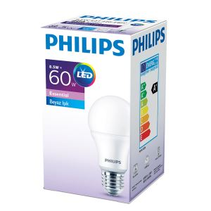 PHILIPS ESS LED 8.5-60W BEYAZ IŞIK NORMAL DUY 3'LÜ EKOPAKET