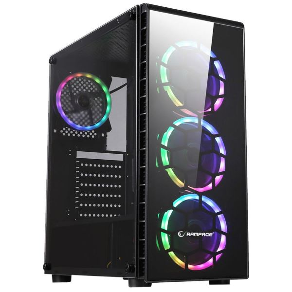 RAMPAGE RAIDER 4x120mm 5 Renk FAN USB 3.0 MidT ATX GAMING KASA