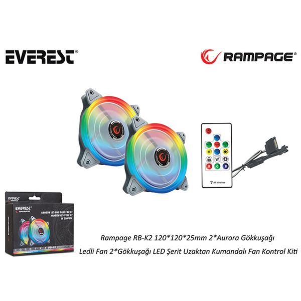 RAMPAGE RB-K2 2x120MM GÖKKUŞAĞI LED FAN + FAN KOTROL KİTİ