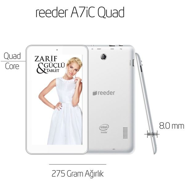 REEDER A7iC QUAD CORE INTEL ATOM Z3735G 1.83GHZ-1GB-8GB DİSK-7''-CAM-BT-AND.4.4