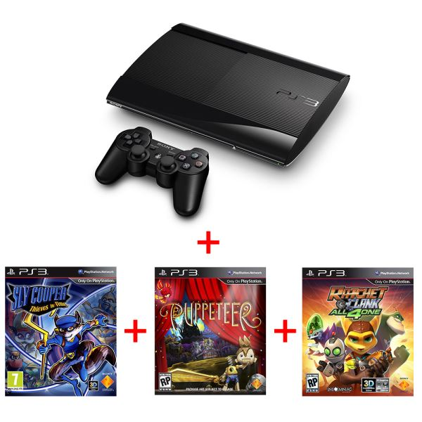 SONY PS3 12GB 3 GAMES PACK (Sly Cooper + Puppeeter + Ratchet & Clank)