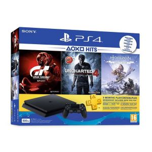 SONY PS4 500GB E+Horizon Zero Dawn+GT Sport+Uncharted4+3 AY PLUS OYUN KONSOLU