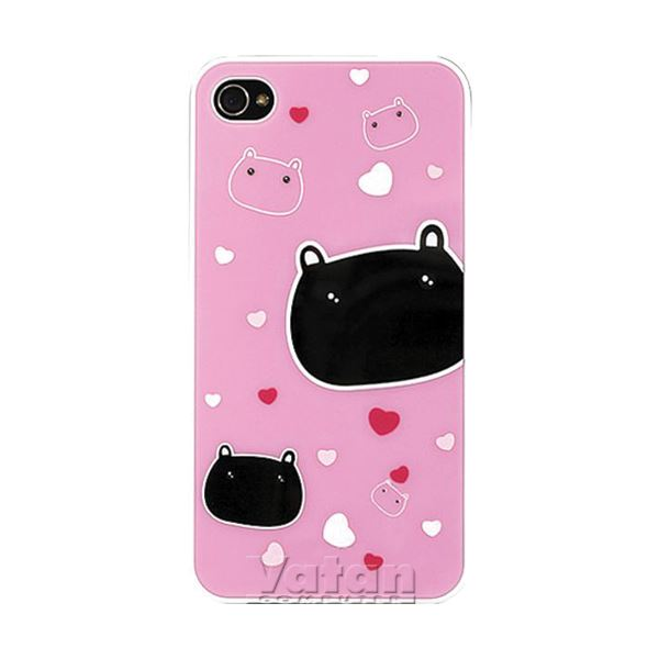iPhone 4/4S Arka Panel (Ayna/Kedi/Pembe)
