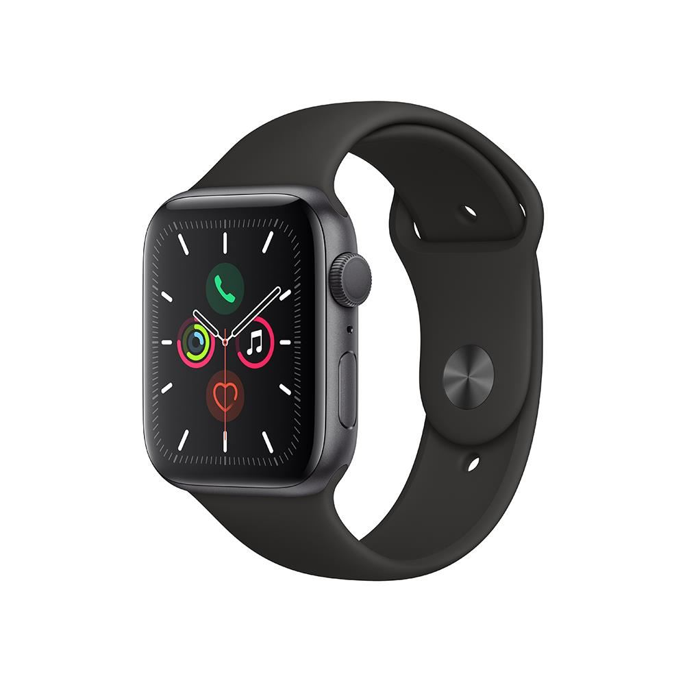 Apple Watch Series 5 GPS, 44mm Space Grey Aluminium Case with Black Sport Band -