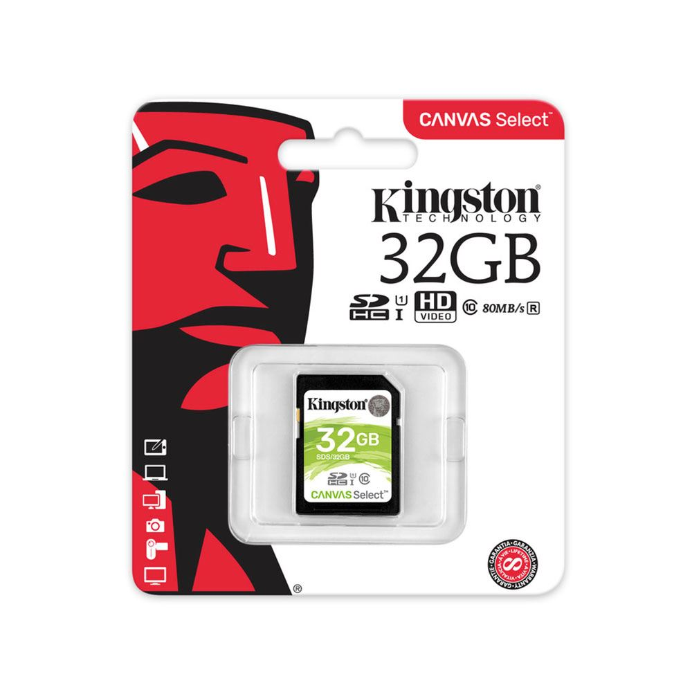 KINGSTON CANVAS SELECT 32 GB CLASS 10 SDHC HAFIZA KARTI (80MB/S-10MB/S)