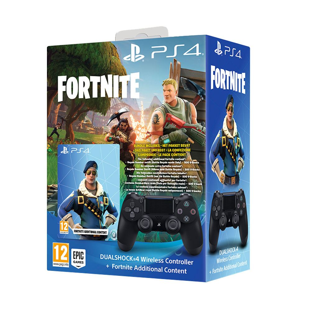 SONY PS4 Dualshock Controller Black v2 + Fortnite Voucher