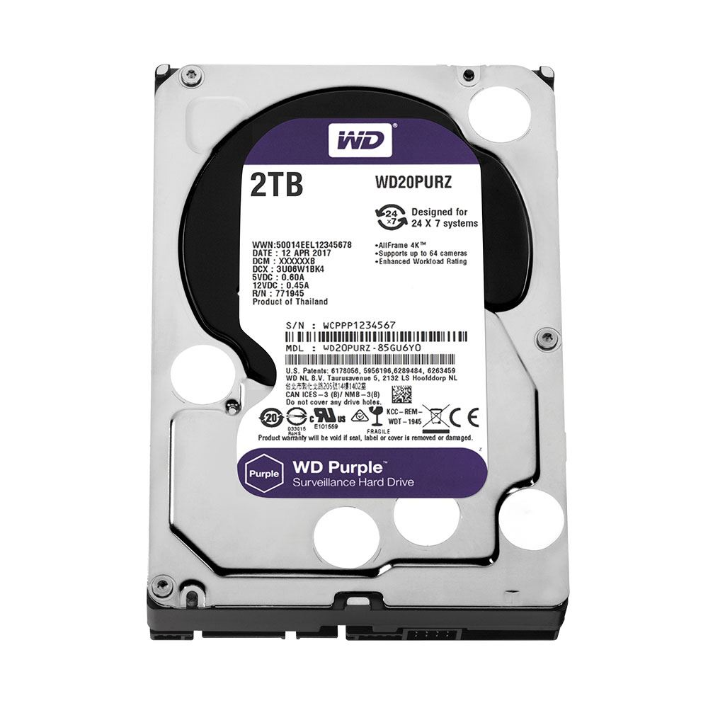 WD Purple 3.5'' 2TB 64MB SATA III 6Gb/s 7/24 Güvenlik
