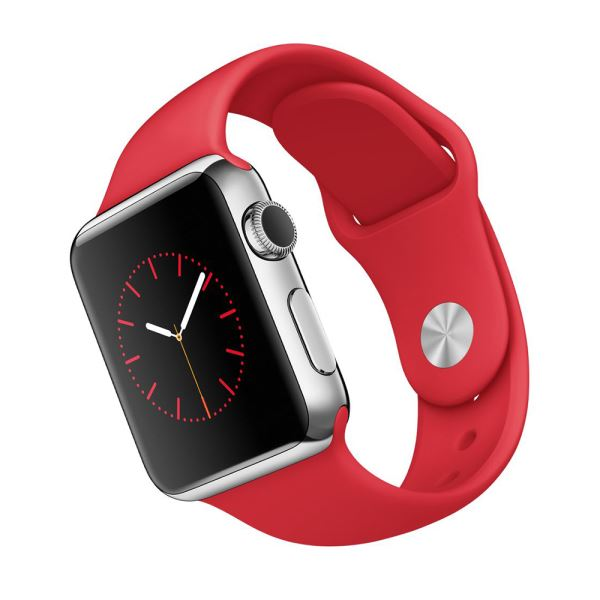 Apple Watch 38 mm Paslanmaz Çelik Kasa ve (PRODUCT) RED Spor Kordon