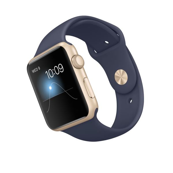 Apple Watch 42mm Gold Aluminium Case with Midnight Blue Sport Band Demo
