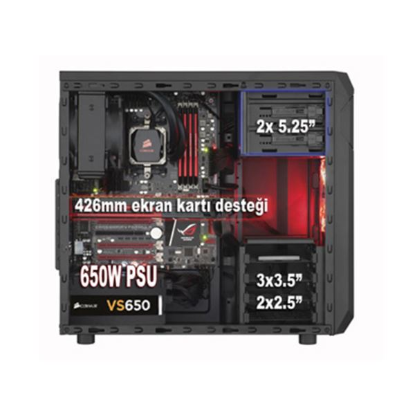 CORSAIR CARBIDE SERİSİ CHAMP/SPEC-02 80PLUS 650W KIRMIZI FANLI MidT ATX KASA