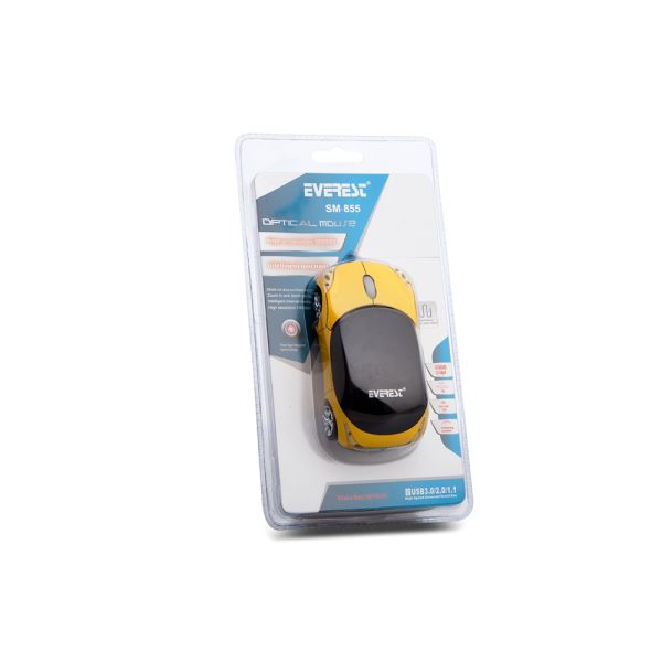 EVEREST SM-855 USB OPTIK CAR MOUSE (Sarı)