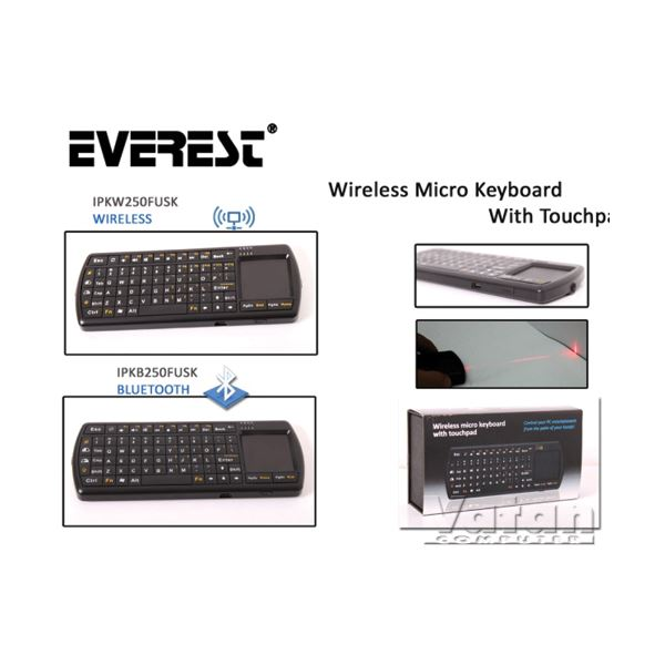 EVEREST IPKB250 BLUETOOTH MICRO KEYBOARD WITH TOUCHPAD