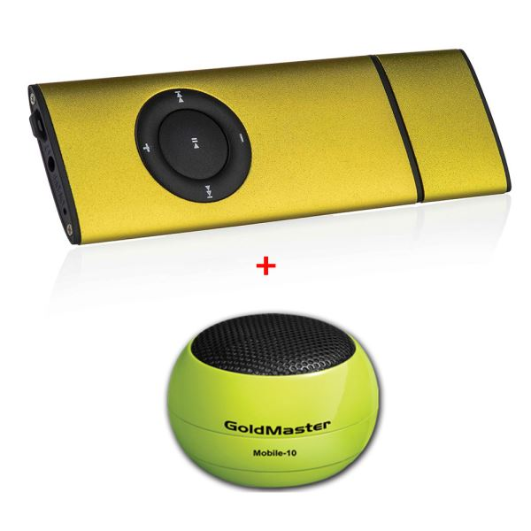 GOLDMASTER SLIM8 MP3 PLAYER(ALTIN) + MOBILE 10 SPEAKER