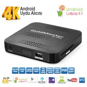 GOLDMASTER 4K ULTRA HD  Android, WI-FI, Bluetooth, USB, HDMI, IP TV, Miracast