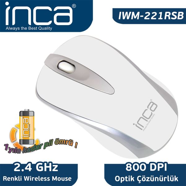 INCA IWM-221RS FASCIA WIRELESS NANO OPTİK MOUSE - BEYAZ