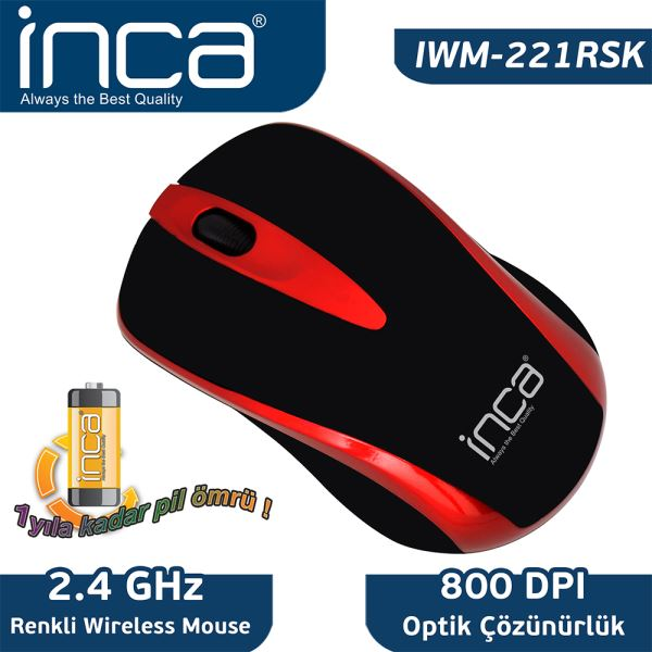 INCA IWM-221RSK FASCIA WIRELESS NANO OPTİK MOUSE - KIRMIZI/SİYAH