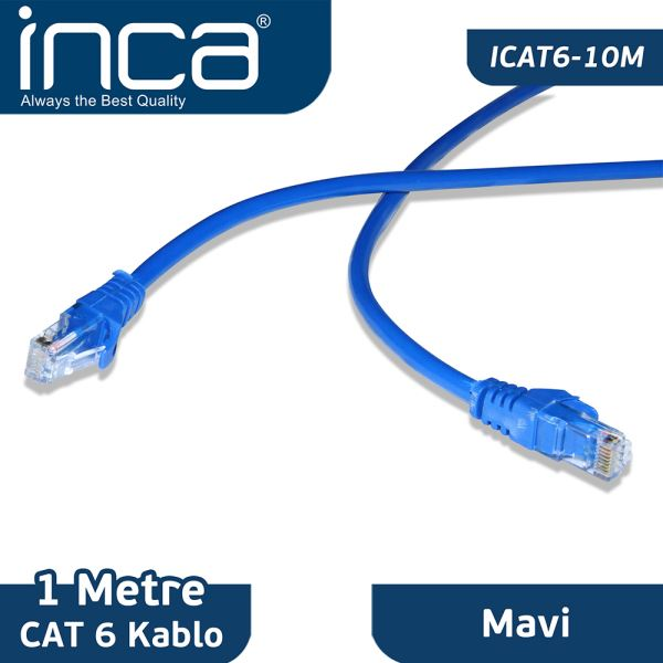 INCA CAT6 26 AVG BLİSTER 1M- (MAVİ)