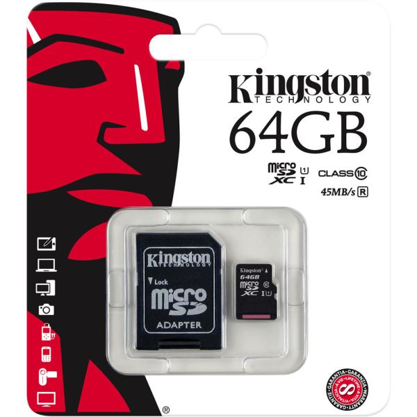KINGSTON 64GB MICRO SDHC CLASS10 (45MB/s) HAFIZA KARTI