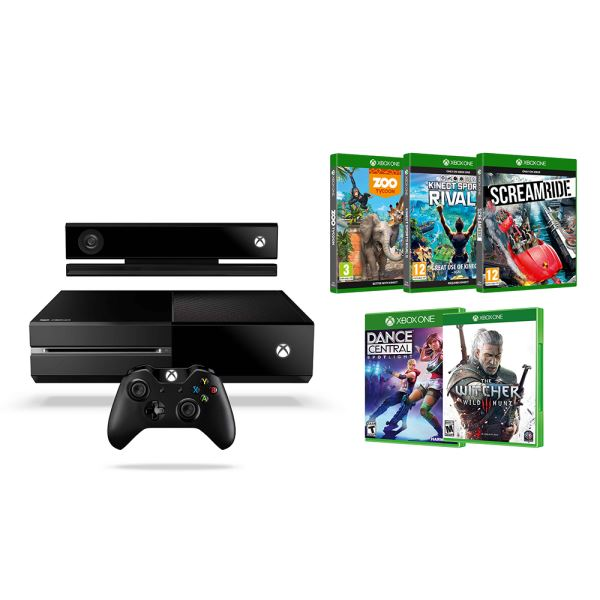 XBOX ONE KONSOL KINECT+WITCHER 3+ZOOTYCOON+KINECT SPORTS RIVALS+SCREAMRIDE