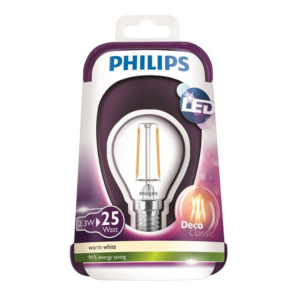 PHILIPS LED Filament 25W E14 TOP ŞEFFAF SARI