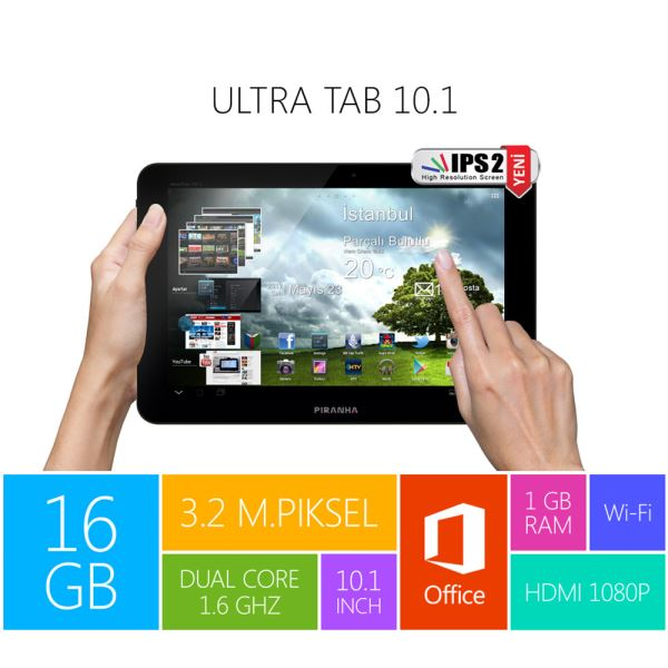 ULTRA TAB 10.1 DUAL CORE RK3066 1.6 GHZ-1GB DDR3-16GB DISK-10.1''-ANDROİD 4