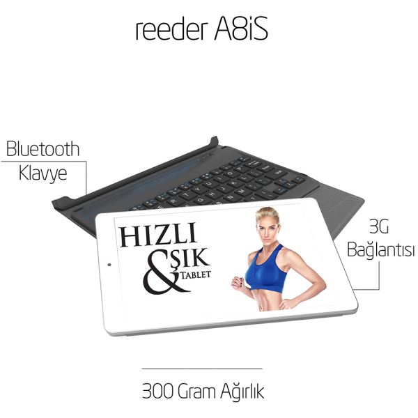 REEDER A8iS INTEL ATOM Z3735G 1.83GHZ-1GB-32GB DİSK-8''-CAM-BT-3G-WİN 8.1