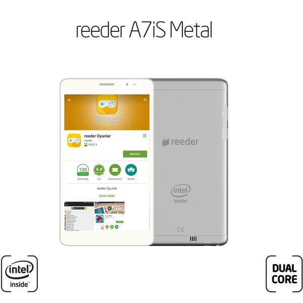 REEDER A7iS DUAL CORE INTEL ATOM Z2520 1.2GHZ-1GB-8GB DİSK-7''-CAM-BT-3G-AND4.2